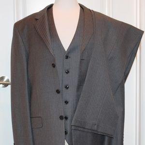 Jones New York 3 Pc Suit Gray Pinstripe 40L 34X33